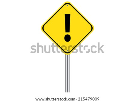 Yellow Caution Road Sign. Vector - stock vector