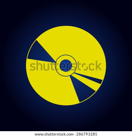 Yellow CD or DVD icons on a blue background - stock vector