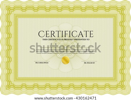 Yellow Certificate template. Nice design. Detailed. Printer friendly.