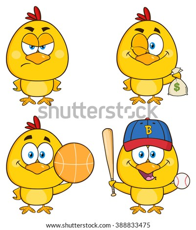 Yellow Chick Cartoon Character 4. Vector Collection Set Isolated On White - stock vector