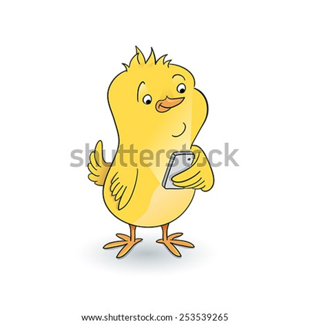 Yellow chick look at mobile - stock vector