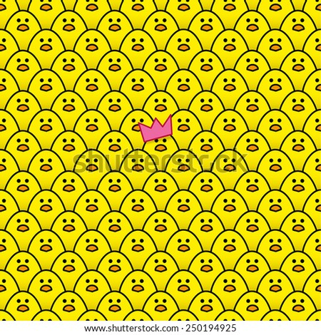 Yellow Chick wearing Pink Paper Party Hat surrounded by other identical chicks - stock vector