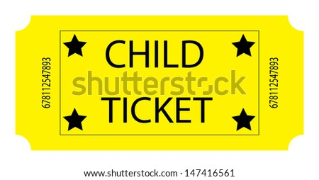 Yellow Child Ticket. Vector - stock vector