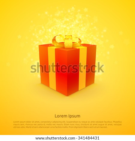 Yellow Christmas and Happy New Year background with red Gift box,stars and particles. Vector illustration - stock vector