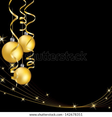 Yellow christmas balls with curling serpentine over black - stock vector