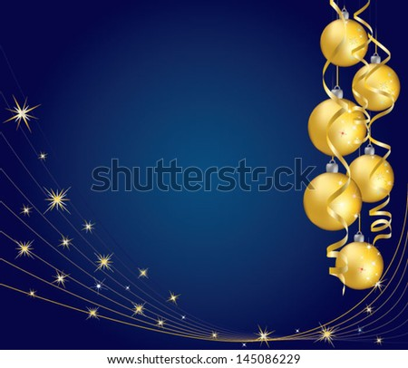 Yellow christmas balls with curling serpentine over blue background - stock vector