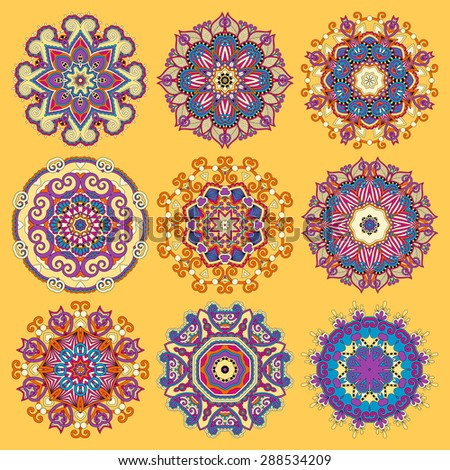 yellow circle lace ornament, round ornamental geometric doily pattern collection. Vector illustration - stock vector
