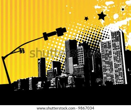 Yellow City Grunge - stock vector