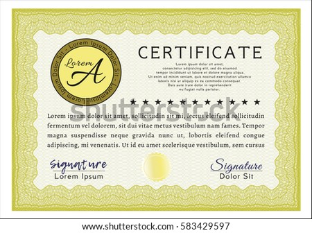 Yellow classic certificate template superior design stock vector yellow classic certificate template superior design customizable easy to edit and change colors yelopaper Images