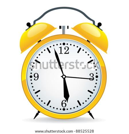 Yellow clock. - stock vector