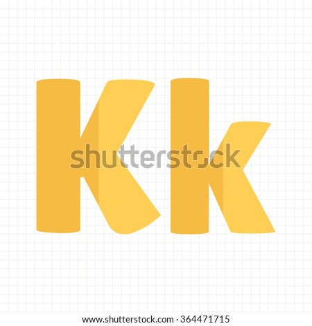 yellow color alphabet letters K - stock vector