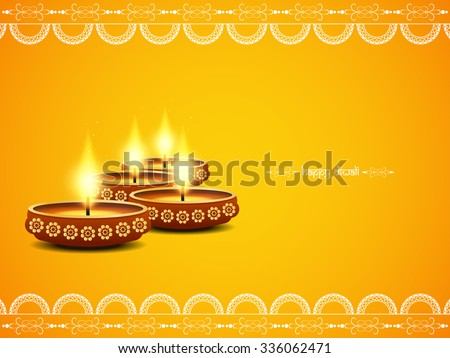 Yellow color background design for Diwali festival with beautiful lamps. - stock vector