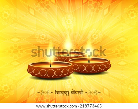 Yellow color background design for Diwali with beautiful lamps. vector illustration  - stock vector