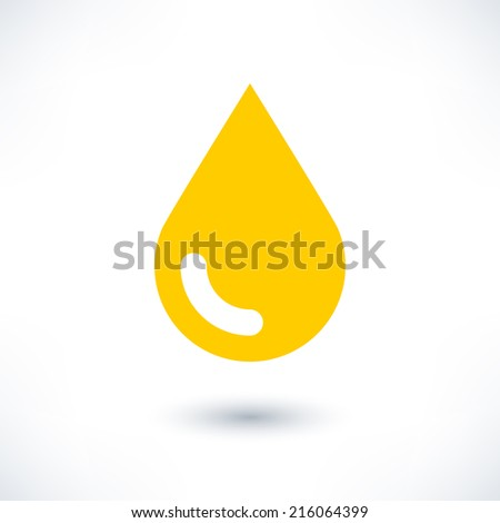 Yellow color drop icon with gray shadow on white background. Gold oil sign in simple, solid, plain, flat style. This vector illustration graphic web design graphic element saved in 8 eps - stock vector
