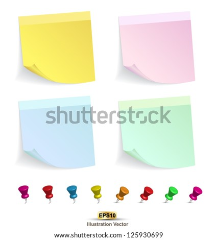 Yellow color set and pin  on white background vector illustration - stock vector