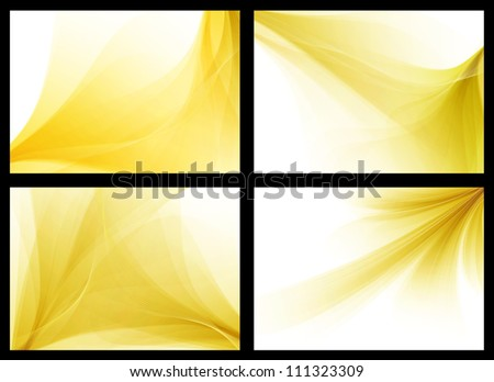 Yellow colorful smooth vector backgrounds set - stock vector