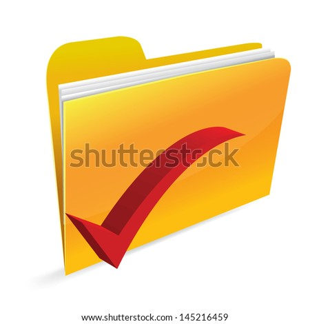 Yellow computer folder on white background - stock vector