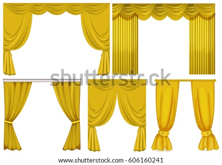 Yellow Curtains On White Background Illustration
