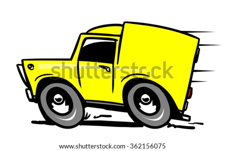 Yellow delivery car - stock vector