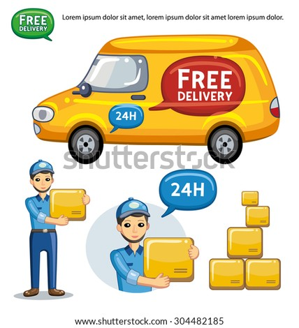 Yellow delivery van and service man holding a box, vector set. - stock vector