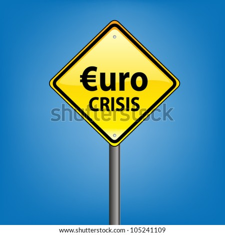 Yellow diamond hazard warning sign against blue sky - euro crisis indication, vector version - stock vector