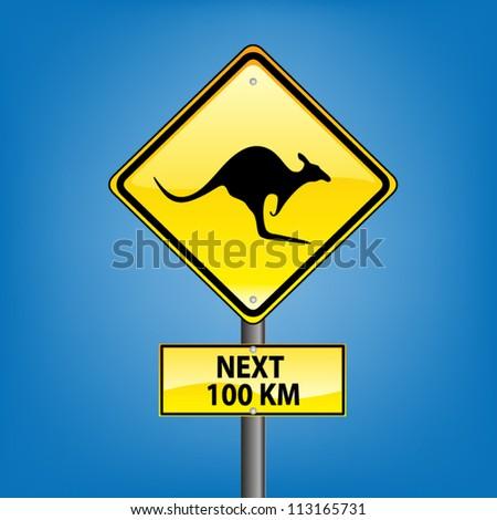 Yellow diamond hazard warning sign against blue sky - kangaroo warning sign, vector version - stock vector