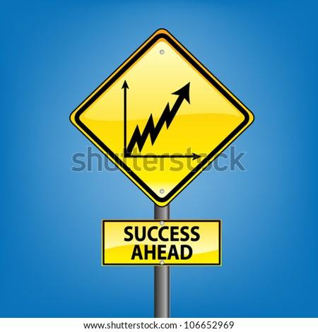 Yellow diamond hazard warning sign against blue sky - success ahead indication, vector version - stock vector