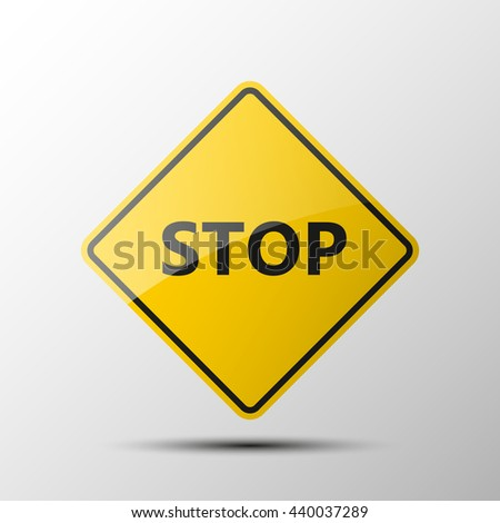 yellow diamond road sign with a black border and an image STOP on white background. Vector Illustration. Movement without a stop-smoking