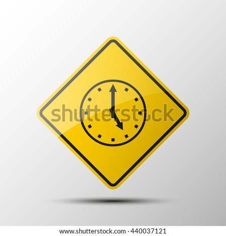 yellow diamond road sign with a black border and an image stopwatch on white background. Vector Illustration. Working hours icon. picture the watch - stock vector