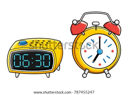 yellow digital retro alarm clock isolated stock vector 787455247 rh shutterstock com Cartoon Digital Clock Alarm Clock Clip Art