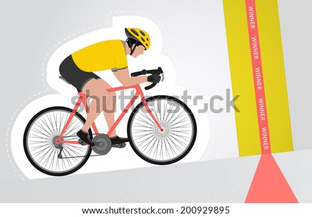 yellow dressed cyclist riding upwards to finish line vector isolated illustration - stock vector
