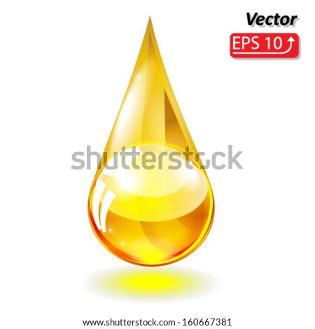 yellow drop of oil isolated on white background vector - stock vector