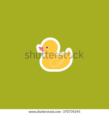 Yellow Duck Toy Icon. Vector illustration - stock vector