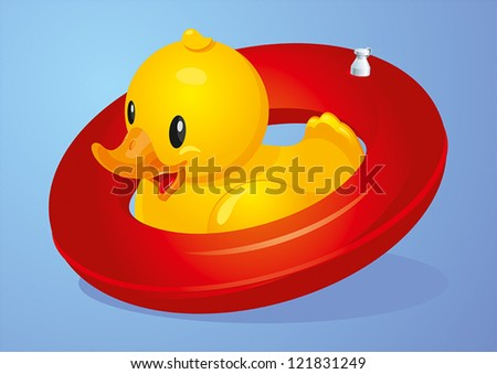 Yellow duck with red inflatable circle - stock vector