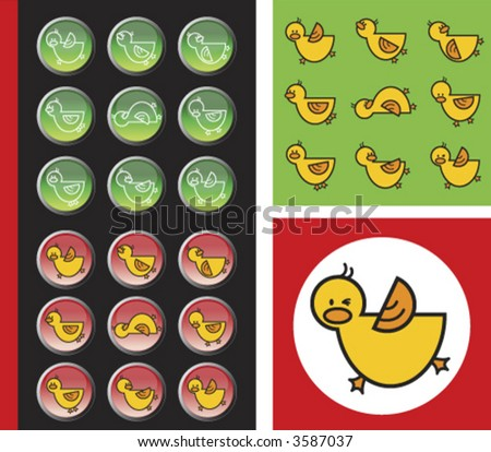 yellow duckies red and green icon buttons (vector) - illustrated animals and button icons - stock vector