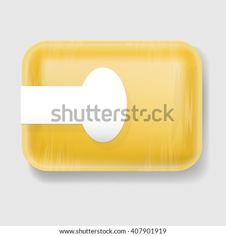 Yellow Empty Blank Styrofoam Plastic Food Tray Container. Mock Up Template - stock vector