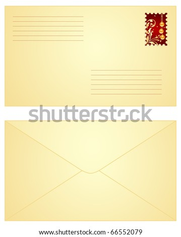 Yellow envelope with red Christmas stamp,  both sides. Vector illustration, isolated on a white.