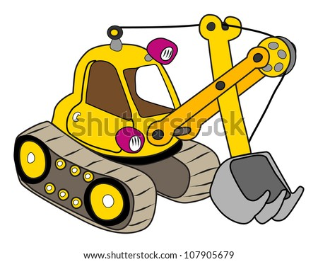Yellow excavator illustration on white - stock vector