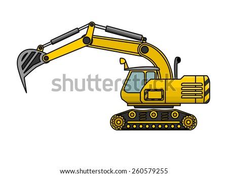 Yellow excavator lifts the ladle - stock vector