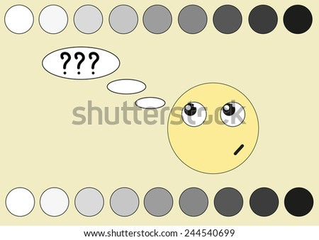 Yellow face and shades of the gray - stock vector
