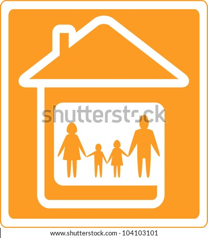 yellow family sign with home and people silhouette - stock vector