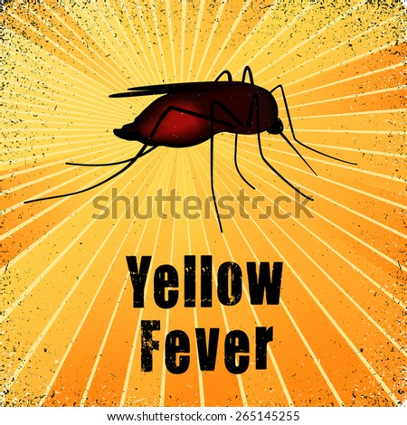 Yellow Fever, blood filled mosquito, graphic illustration with gold ray grunge background. EPS8 compatible. - stock vector