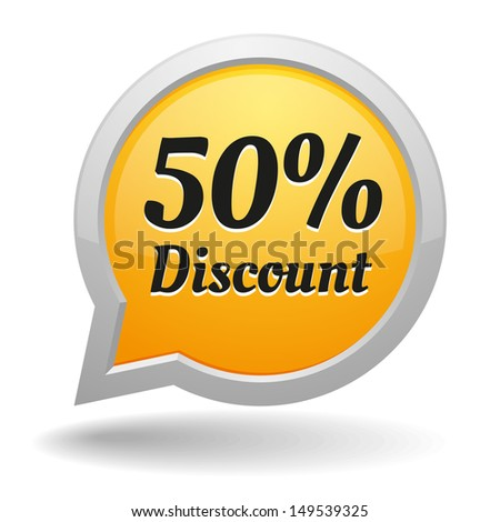 Yellow fifty percent discount speech bubble