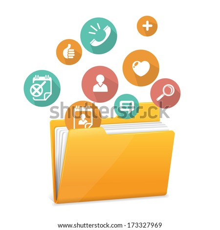 Yellow file folder icon and flat icons - stock vector