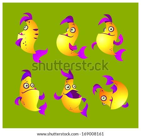 Yellow fish  - stock vector