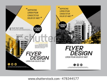 Yellow Flat Modern Brochure Layout Design Stock Vector