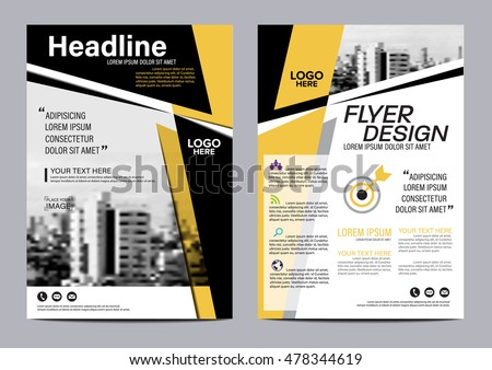 Yellow Flat Modern Brochure Layout Design Stock Vector 478353418