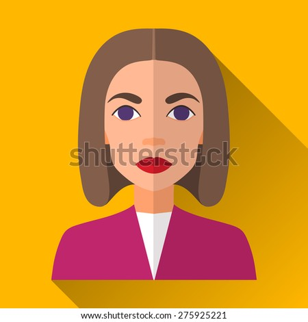 Yellow flat style square shaped female character icon with shadow. Illustration of an attractive woman with brown medium length hair wearing a purple jacket and white shirt. - stock vector