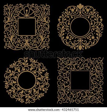 Yellow floral frames with copy space vector template on black background. - stock vector