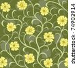 yellow flower swirl seamless background pattern - stock vector